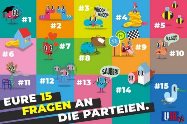 """Plakat zur Parteienübersicht """"Eure Fragen an die Parteien"""""""