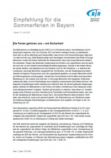 Empfehlung für die Sommerferien in Bayern