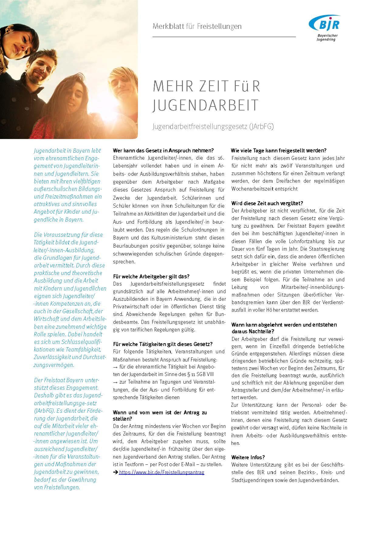 Merkblatt für Freistellungen  Shop Bayerischer Jugendring